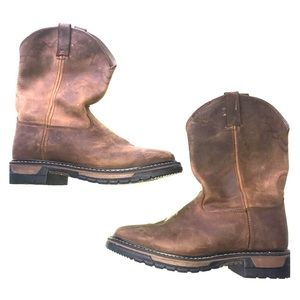 "Men's Rocky 11"" western tan boots size 10"